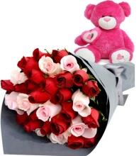 36 Red Roses with Pink Bear
