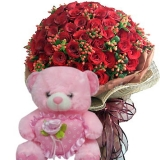 24 Red Roses with Pink Bear