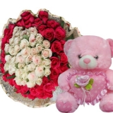 36 Mixed Roses with Pink Bear