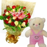 Mixed Roses With Bear