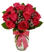 12 Hot Pink Rose Bouquet