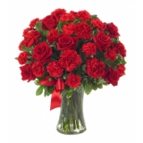 24 Hot Red Roses & Red Carnation