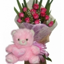 12 Pink Roses with Pink Bear w/ Love Pillow