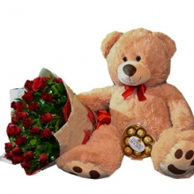3 Feet Bear & Rose w/ Chocolate