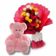 Wishes 24 Roses with Bear