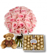 24 Pink Rose vase,Ferrero chocolate box with Small Bear