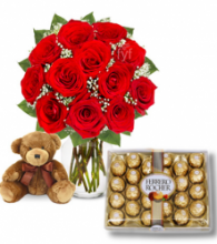 Red Roses vase,24 pcs Ferrero box with mini Bear