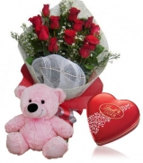 12 Red Rose bouquet,Pink Bear with Lindt Chocolate box