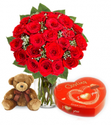 24 Red Rose vase,Brown Bear with Guylian Chocolate