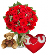 24 Red Rose vase,Brown Bear with Wesley Pillow