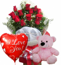 Red Rose bouquet,Pink Bear with Love u Balloon