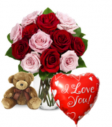 Red & Pink Rose vase,Brown Bear with Love U Baloon