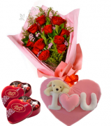 Red Roses,Lindt Chocolate box with Wesley Pillow & Bear