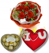 Red Rose bouquet,Ferrero Rocher box with Wesley Pillow