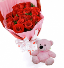 24 Red Rose Bouquet with small Teddy Bear