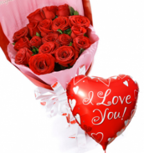 24 Red Rose Bouquet with I Love You Balloon