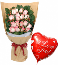 24 Pink Rose Bouquet with I Love You Balloon