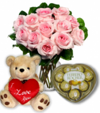 12 Pink Rose vase, chocolate with Bear