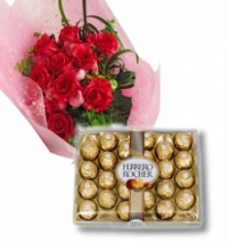 12 Red Roses Bouquet w/ 24 pcs Ferrero Box