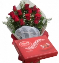 12 Red Roses bouquet with Lindt Chocolate box