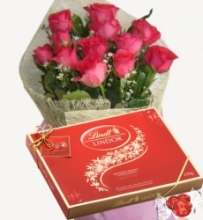 12 Red Roses with Lindt Lindor Milk Chocolate