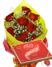 12 Red Roses bouquet w/ Lindt Lindor Milk Chocolate