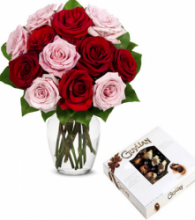 12 Red and Pink Roses Vase with Guylian Chocolate