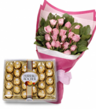 24 Pink Roses bouquet & 24 pcs Ferrero chocolate