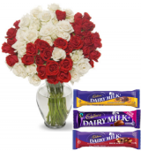 36 Red & White Roses vase with Cadbury