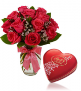 12 Red Roses vase with Heart shaped Lindt Chocolate