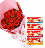 24 Red Roses bouquet with Delfi Assorted Chocolate