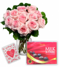 12 Pink Roses Vase with Alfredo Milk Chocolate Box