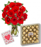 12 Red Roses Vase with 24pcs Ferrero Chocolate