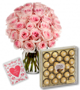 36 Pink Roses Vase with 24pcs Ferrero Chocolate Box