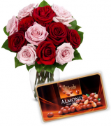 12 Mixed Roses Vase with Alfredo Almond Chocolate Box