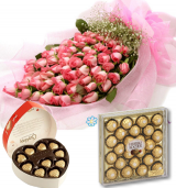 50 Pink Roses Bouquet,Guylian & 24pcs Ferrero Chocolate Box