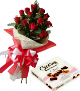 12 Red Roses Bouquet with Guylian Opus Chocolate Box