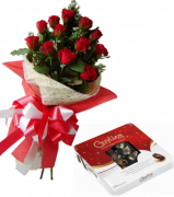 12 Red Roses Bouquet with Guylian Belgian Chocolate Box