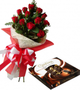 12 Red Roses Bouquet with Guylian Extra Dark Chocolate Box