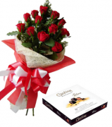 12 Red Roses Bouquet with Guylian Belgian Chocolates