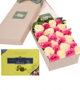 24 Red & Pink Roses Box with Millennium Milk Chocolate Box
