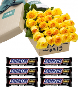 24 Yellow Roses with 6 Snickers Dark Chocolate