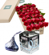 36 Red Roses Box with Hershey's Kisses