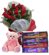 12 Red Roses Bouquet,Pink Bear with Cadbury Chocolates