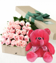 24 Pink Roses Box With Red Bear