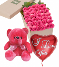 36 Pink Roses Box,Red Bear with I Love u Balloon