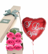 6 Pink Roses Box with I love U Balloon