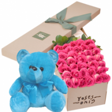 36 Pink Roses Box with Blue Bear