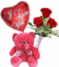 3 Red Roses Bouqet,Red Bear With I Love U Balloon