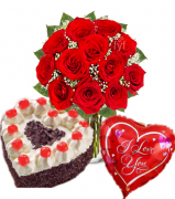 12 Red Roses Vase,Love U Balloons with Heart Shaped Black Forest Cake